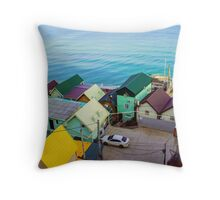 Many color houses on the coast of the sea Throw Pillow