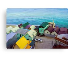 Many color houses on the coast of the sea Canvas Print