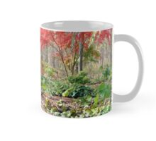 Autumn in the woods with Out house Mug