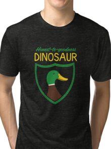 Honest-To-Goodness Dinosaur: Duck (on dark background) Tri-blend T-Shirt