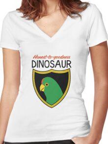 Honest-To-Goodness Dinosaur: Parakeet (on light background) Women's Fitted V-Neck T-Shirt