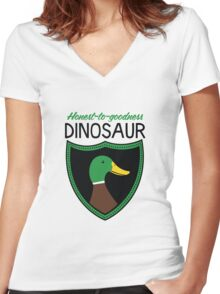 Honest-To-Goodness Dinosaur: Duck (on light background) Women's Fitted V-Neck T-Shirt