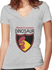 Honest-To-Goodness Dinosaur: Rooster (on light background) Women's Fitted V-Neck T-Shirt
