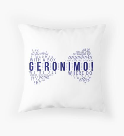 Geronimo! Eleventh Doctor Throw Pillow