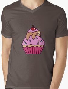 Cupcake Sloth Mens V-Neck T-Shirt