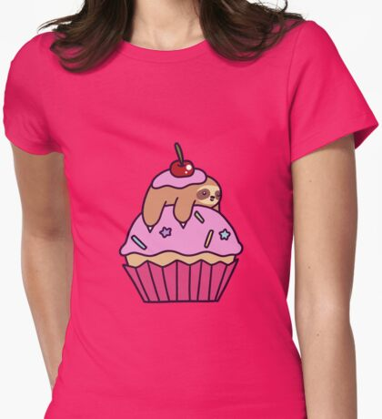 Cupcake Sloth Womens Fitted T-Shirt
