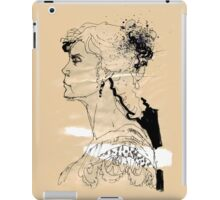 Vintage girl ink drawing on craft paper iPad Case/Skin
