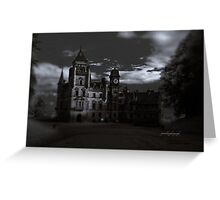 Spooky Night on Dunrobin Castle Black and White (Golspie, Sutherland, Scotland) Greeting Card