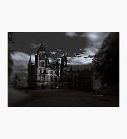 Spooky Night on Dunrobin Castle Black and White (Golspie, Sutherland, Scotland) Photographic Print