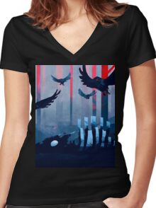 Blue Stone Landscape Women's Fitted V-Neck T-Shirt
