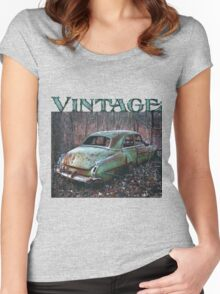Old Car in the Woods, artist Lynn Garwood Women's Fitted Scoop T-Shirt