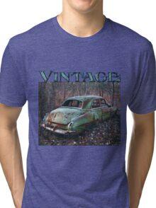 Old Car in the Woods, artist Lynn Garwood Tri-blend T-Shirt