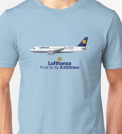 Illustration of Lufthansa Airbus A320 NEO D-AINA - Blue Version Unisex T-Shirt