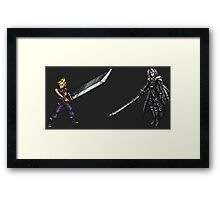 Cloud vs Sephiroth (FF7) - FFRK Boss Sprites Framed Print
