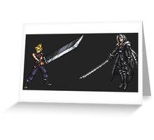 Cloud vs Sephiroth (FF7) - FFRK Boss Sprites Greeting Card