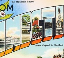 Vintage greetings from Connecticut Sticker
