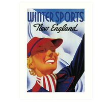 Winter sports New England retro vintage Art Print
