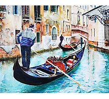 Gondola on a canal in Venice, Italy Photographic Print