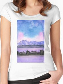 Far away on the road - Watercolor Painting Women's Fitted Scoop T-Shirt
