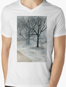 Winter Day - Watercolor Painting Mens V-Neck T-Shirt