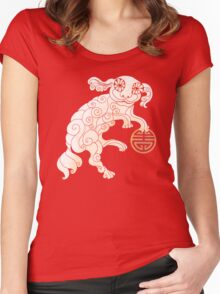 Long Life White Cloud Foo Dog Women's Fitted Scoop T-Shirt