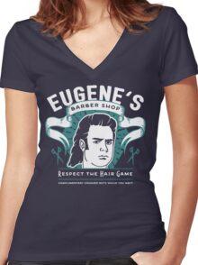 Eugene's Barber Shop Women's Fitted V-Neck T-Shirt