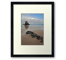 Sea Stack and Jurassic looking Rock on Sango Bay Framed Print