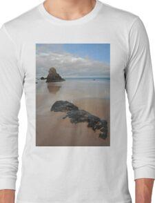 Sea Stack and Jurassic looking Rock on Sango Bay Long Sleeve T-Shirt