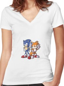 Classic Sonic and Tails Women's Fitted V-Neck T-Shirt
