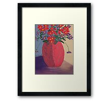Red Vase with Red flowers  Framed Print