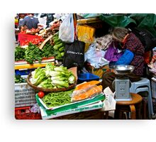 market scene in Hong Kong lady selling fruit and vegetables Canvas Print