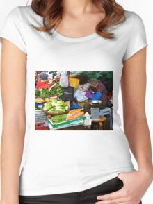 market scene in Hong Kong lady selling fruit and vegetables Women's Fitted Scoop T-Shirt