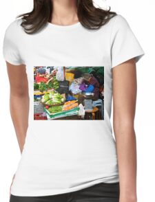 market scene in Hong Kong lady selling fruit and vegetables Womens Fitted T-Shirt