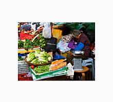market scene in Hong Kong lady selling fruit and vegetables Unisex T-Shirt