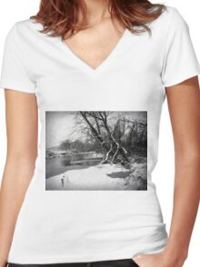 Snowy Stouts Creek Women's Fitted V-Neck T-Shirt