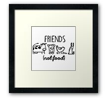 Animal Rights Rescue Friends Not Food Framed Print