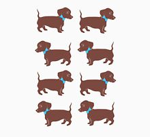 Brown Dachshunds with Blue Bows Pattern Art Womens Fitted T-Shirt