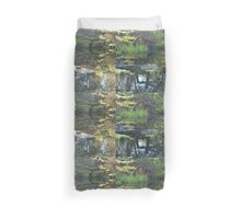 Spring water ponds, turtle, rocks, water plants and tree reflection. Duvet Cover