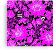 Pink Neon Floral Canvas Print