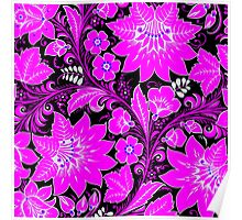 Pink Neon Floral Poster