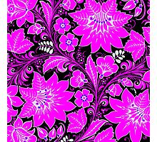 Pink Neon Floral Photographic Print