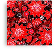 Red Neon Floral Canvas Print