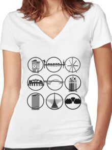 Milwaukee Icons  Women's Fitted V-Neck T-Shirt