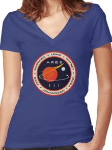 """Martian"" Ares III Patch Women's Fitted V-Neck T-Shirt"