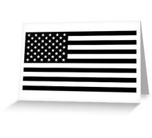 Black and White USA America Flag Greeting Card