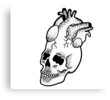 Dotwork SkullHeart Canvas Print