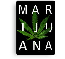Marijuana - Minimalist Leaf [White Text] Canvas Print