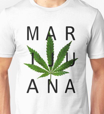 Marijuana - Minimalist Leaf [Black Text] Unisex T-Shirt