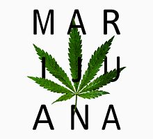 Marijuana - Minimalist Leaf [Black Text] Unisex T-Shirt