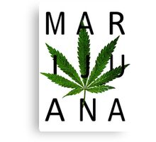 Marijuana - Minimalist Leaf [Black Text] Canvas Print